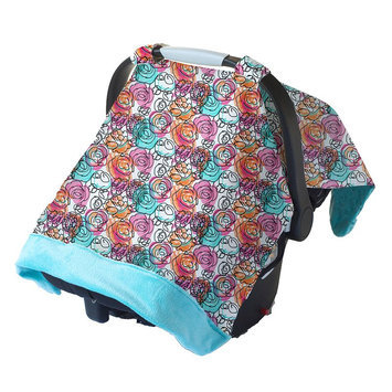 Itzy Ritzy Cozy Happens Infant Car Seat Canopy & Tummy Time Mat Watercolor Bloom with Aquamarine Minky Dot - Itzy Ritzy Diaper and Baby Accessories