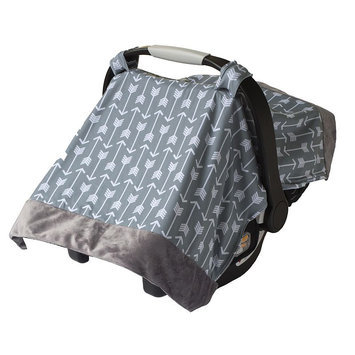 Itzy Ritzy Cozy Happens Infant Car Seat Canopy & Tummy Time Mat Swift Arrows with Charcoal Minky Dot - Itzy Ritzy Diaper and Baby Accessories