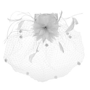Jane Tran Hair Accessories Feather Comb with Net Veil