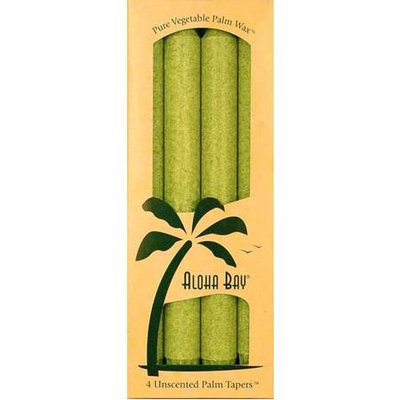 Aloha Bay - Palm Tapers Unscented Candles Melon Green - 4 Pack