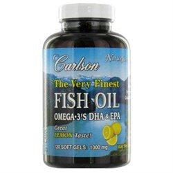 Carlson Labs Very Finest Fish Oil, Lemon, 1000mg, 120 Softgels