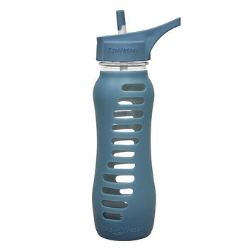 Eco Vessel Surf Glass Bottle With Silicone Sleeve - 22oz Storm Blue, One Size