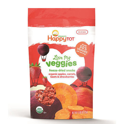 Happy Family Happy Tot Love My Veggies Apples, Carrots, Beets and Strawberries Freeze-Dried Organic Snacks - 0.88 Ounce Pouch