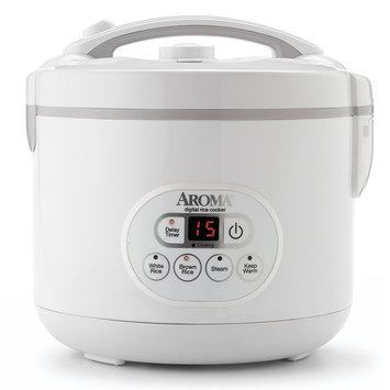Aroma Cool Touch 12-Cup Digital Rice Cooker, White