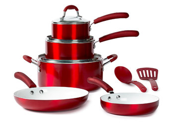 Tabletops Unlimited, Inc 10-Piece Non-Stick Cookware Set, Red