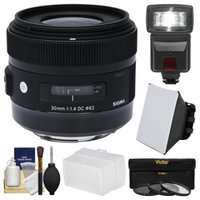 Sigma 30mm f/1.4 ART DC HSM Lens (for Canon EOS Cameras) with 3 UV/CPL/ND8 Filters + Flash + Diffuser + Soft Box + Kit