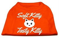 Ahi Softy Kitty Tasty Kitty Screen Print Dog Shirt Orange XXXL (20)