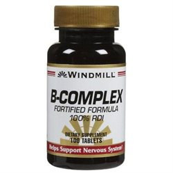 Vitamin B-Complex Fortified Formula, 100 Tablets, Windmill Health Products