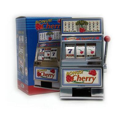 Trademark Games Cherry Bonus Slot Machine bank W/ Spinning reels