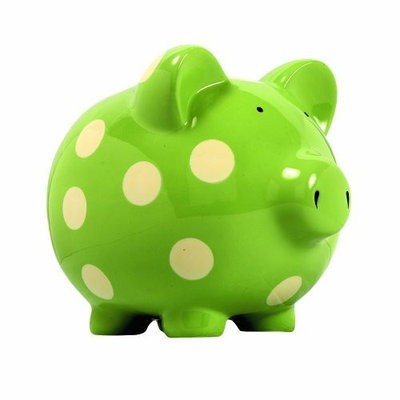 Elegant Baby Classic Pig Bank with Cream Polka Dots - Green