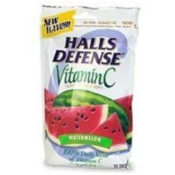 Halls Cough Drops Halls Defense Vitamin C Supplement Drops Bag, Watermelon Flavor - 30