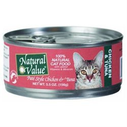 Natural Value Cat Food Pate Style - Chicken & Tuna - 24 x 5.5 oz