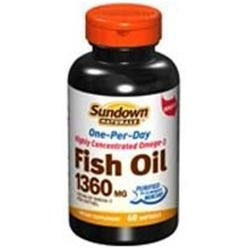 Sundown Naturals Odorless Triple Strength Fish Oil 1400mg, Softgels, 60 ea