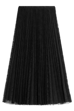 Valentino Pleated Silk Skirt with Lace - black