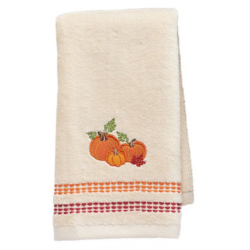Harvest Pumpkin Fingertip Towel, White