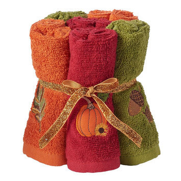 Harvest 6-pack Embroidered Icon Washcloth, Multicolor