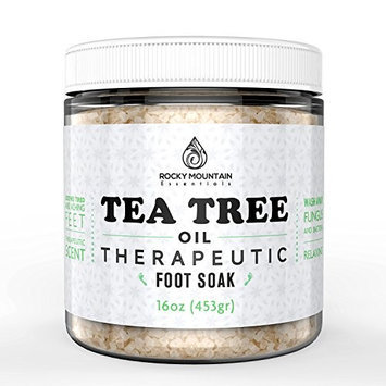 Rocky Mountain Radar Tea Tree Oil Foot Soak, HUGE 16 Oz (1 lb.) With Epsom Salt. Helps Relieve and Prevent Athletes Foot, Nail Fungus and Nail Infections. Epsom Salt with Essential Oil Blend For Invigorating Aromatherapy. Eliminates Foot Odor and Leaves Feet Feeling Clean and Refreshed. 100% Pure Essential Oils and All Natural Ingredients. Perfect For Sore, Aching Feet.