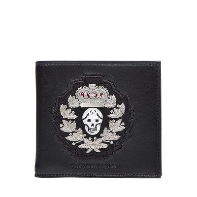 Alexander McQueen Embellished Leather Wallet - black