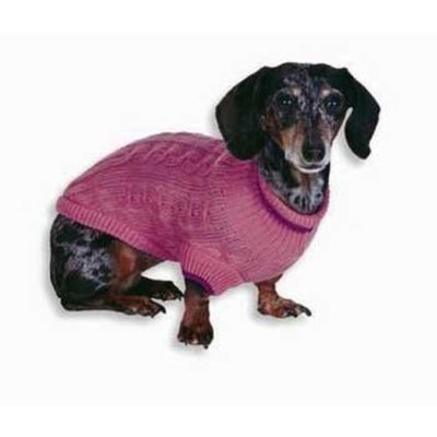 Fashion Pet Classic Cable Dog Sweater, Pink