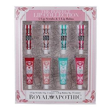 Royal Apothic 4 Lip Scrubs & 4 Lip Balms Exfoliating Perfect Lips Tubes
