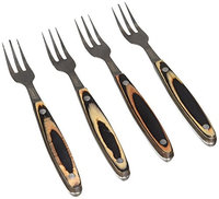 Coleman C04F285 7.75 Marbled Brown Steak Forks Set with Pakkawood Handles - Piece of 4