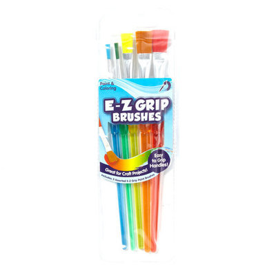 Generic Kids Craft EZ Grip Paint Brushes, 5pk