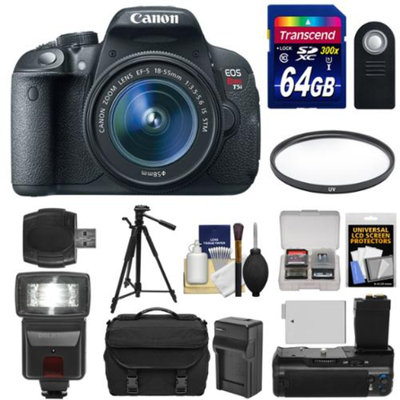 Canon EOS Rebel T5i Digital SLR Camera & EF-S 18-55mm IS STM Lens with 64GB Card + Flash + Grip + Battery + Tripod + Case + Filter Kit