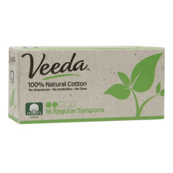 Veeda 100% Natural Cotton Applicator-Free Tampons, Regular, 16 ea