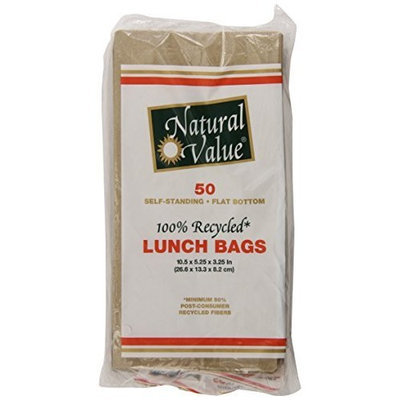Natural Value Recycled Brown Lunch Bags, 50 Count (Pack of 24)