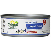 Natural Value No Salt Added Solid Tongol Tuna in Spring Water, 5 Ounce Cans (Pack of 24)