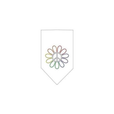 Ahi Rainbow Peace Flower Rhinestone Bandana White Small