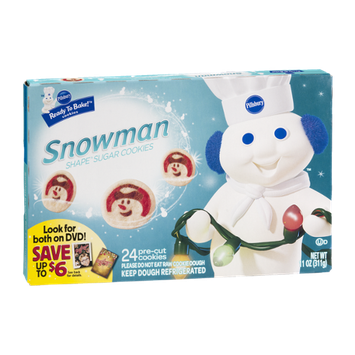 Pillsbury Ready to Bake Snowman Shape Sugar Cookies Cookie Dough - 24 CT