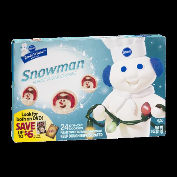 Pillsbury Ready To Bake Snowman Shape Sugar Cookies Cookie Dough 24 Ct