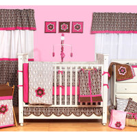 Bacati Damask 10pc Nursery-in-a-Bag Crib Bedding Set, Pink/Chocolate