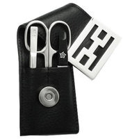 Pfeilring Of America Avalon 3 Piece Nickel Plated Cowhide Leather Manicure Set