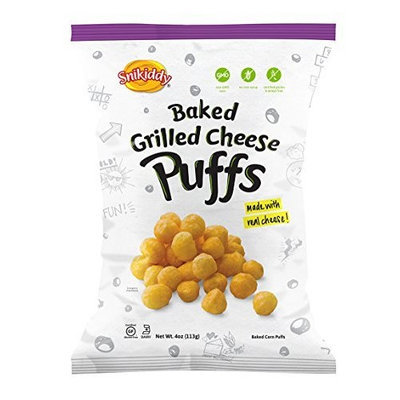 Snikiddy Snacks Snikiddy All Natural Baked Corn Puffs, Grilled Cheese, 4-Ounce Bags (Pack of 12)
