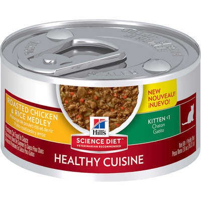 Hill's Science Diet Kitten Healthy Cuisine Roasted Chicken & Rice Medley Cat Food, 2.8 oz, Case of 24