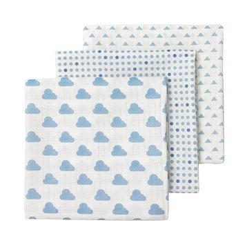 giggle 3-pk. Cloud & Polka-Dot Muslin Swaddle Blankets, Blue