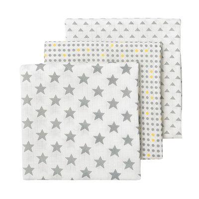 giggle 3-pk. Star & Polka-Dot Muslin Swaddle Blankets, Grey