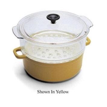 World Cuisine A1736624 4 Qt Blue Cast Iron Steamer