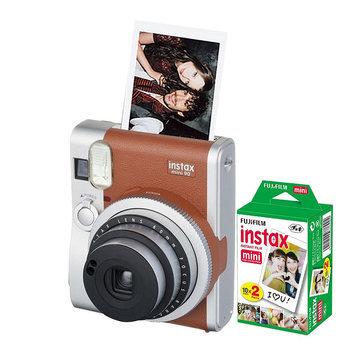 Fujifilm Instax Mini 90 Neo Classic Instant Camera Bundle, Brown