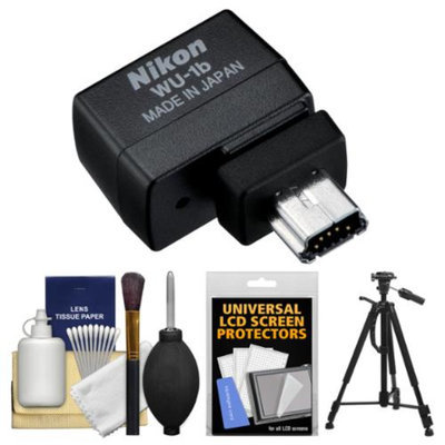 Nikon WU-1b Wireless Wi-Fi Mobile Adapter (for iPhone or Android) - Factory Refurbished with Tripod + Cleaning Kit for D600, D610, 1 J3, S1, V2, AW1 Camera