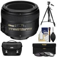 Nikon 50mm f/1.4G AF-S Nikkor Lens with Nikon Case + 3 UV/CPL/ND8 Filters + Tripod Kit for D3200, D3300, D5200, D5300, D7100, D610, D750, D810, D4s DSLR Camera