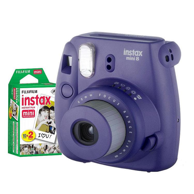 Fujifilm Instax Mini 8 Instant Camera Bundle, Purple