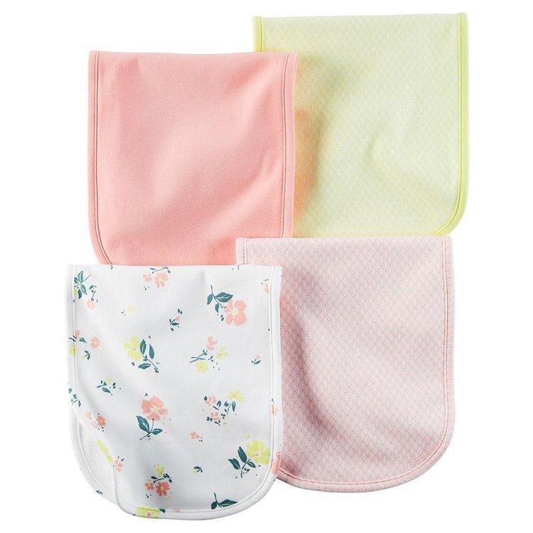 Baby Girl Carter's 4-pk. Floral & Geometric Burp Cloths, Ovrfl Oth