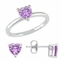 Amour Silver Amethyst Earring & Ring Set, 9, Purple, 1 ea