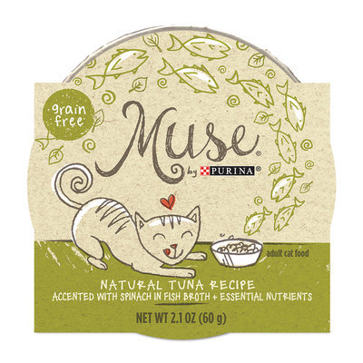 Muse by Purina Natural Tuna Recipe Accented with Spinach in Fish Broth Cat Food, 2.1 oz.