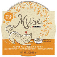 Muse by Purina Natural Chicken Recipe Accented with Carrots in a Seafood Chowder Cat Food, 2.1 oz.