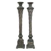 J. Hunt Home Resin Candlestick I (Set of 2), Weathered Gray
