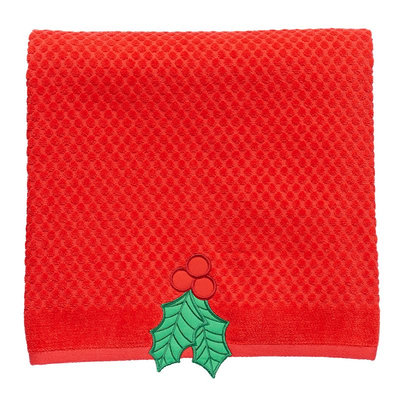 St. Nicholas Square® Textured Holly Bath Towel, Red